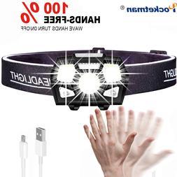 7000 Lumen LED <font><b>Headlamp</b></font> Motion Sensor Ul