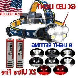 750000LM COB LED Headlamp Rechargeable Head Light Flashlight