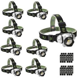 8 Pack LED Headlamp with Red Light Brightest Head Flashlight
