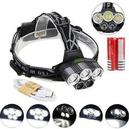 80000LM 5-LED Headlamp Rechargeable Headlight + USB Cable +