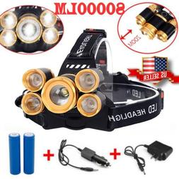 80000lm 5-led Zoom LED 18650 Headlamp Head Light Torch Flash