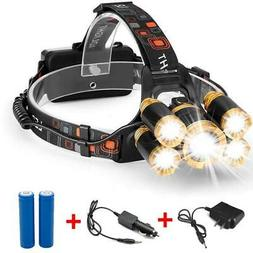 80000LM 5-LED Zoom LED Rechargeable 18650 Headlamp Head Ligh