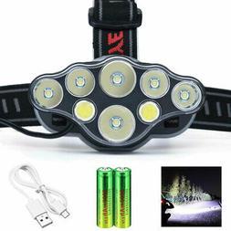 8LEDs Headlamp T6 USB Headlight Torch  Working Light +Rechar