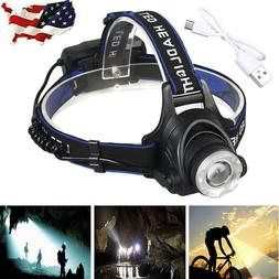 90000LM Zoomable T6 USB Rechargeable Led Headlamp Headlight