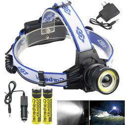 900000lms t6 zoomable led headlamp rechargeable 18650