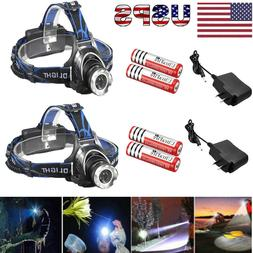 90000Lumens T6 LED Zoomable Headlamp Rechargeable 18650 Head