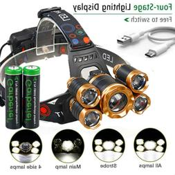 990000LM 5X T6 LED Headlamp Rechargeable Head Light Flashlig