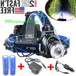 990000LM Rechargeable Head light LED Tactical Headlamp Zooma