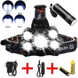 Super bright 90000LM 5 X XM-L T6 LED Headlamp Headlight Flas