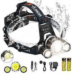 Boruit LED Headlamp 3xOriginal Cree XML T6 5000 Lumens Water