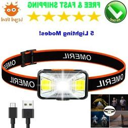 Camping Hiking LED Waterproof Headlamps for Adults Rechargea