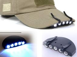 LED Cap Light Clip On Hat Brim Camping Fishing Bike 5 Bulb H