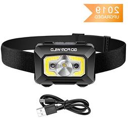 COB Enhanced Rechargeable Headlamp, 500 Lumens White Cree LE
