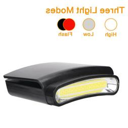 COB LED Headlamp Cap Hat Light Clip-on Headlight Indoor &Out