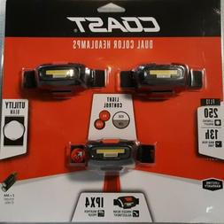 Coast FL13 Dual Color Headlamps, 3 Pack, 250 Lumen Weather P