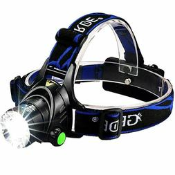 GRDE Zoomable 3 Modes Super Bright LED Headlamp Rechargeable