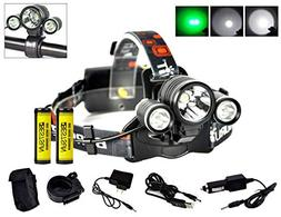 BESTSUN Green Light Hunting Headlight, 3T6 LED Green Coyote