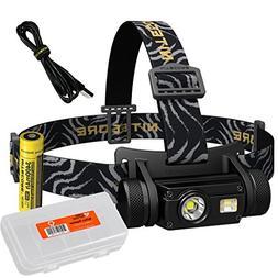 Nitecore HC65 1000 Lumen USB Rechargeable Headlamp with Whit