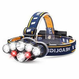 Headlamp, 1300 Lumen 8 LED Headlight with White Red Lights,