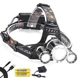 Led Headlamp,AstaaCity Brightest 8000 Lumen Flashlight,Recha