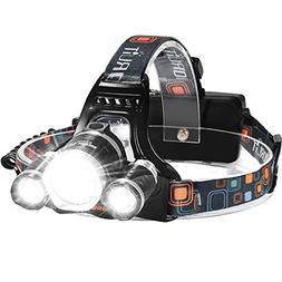LED Headlamp, 5000 Lumens Max} 4 Modes Waterproof Head Flash
