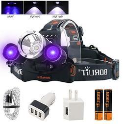 BORUIT Headlamp with Purple UV Light - Purple Ultra Violet H