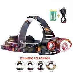 Led Headlamp Flashlight, Edomi USB Rechargeable Brightest Zo