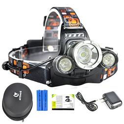 Irontria LED Headlamp High Power Bright Headlight 3 XML T6 w