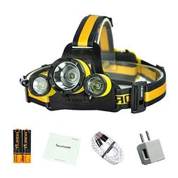 LED Headlamp Rechargeable Outdoor Headlight Ultra Bright