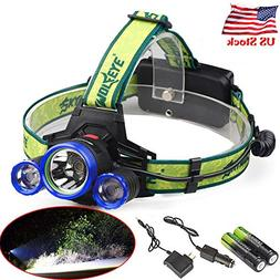 Skywolfeye 50000Lumens Headlamp Rechargeable Torch Camping T