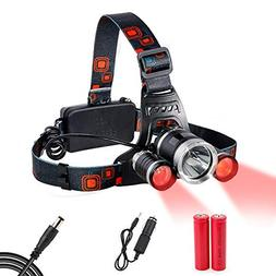 Headlamp Red Lighting LED Headlight 4 Modes , Hands-free Fla