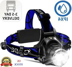 Headlamp, Super Bright LED Headlamps 18650 USB Rechargeable
