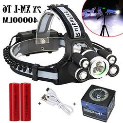 LED Headlamp Super Bright 40000 LM 7X XML T6 with 5 modes Zo