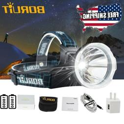 BORUiT Headlamp US XM-L2 LED USB Headlight 18650 Head Torch