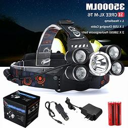 LED Headlamp,ZYooh 5 Modes 5 Headlamp Waterproofing Design H