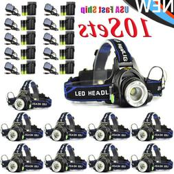 Headlamp Zoomable 50000LM T6 LED Headlight Flashlight+Charge
