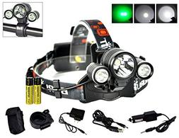 Boruit Hunnting Headlight with Green light 3T6 LED Night Fla
