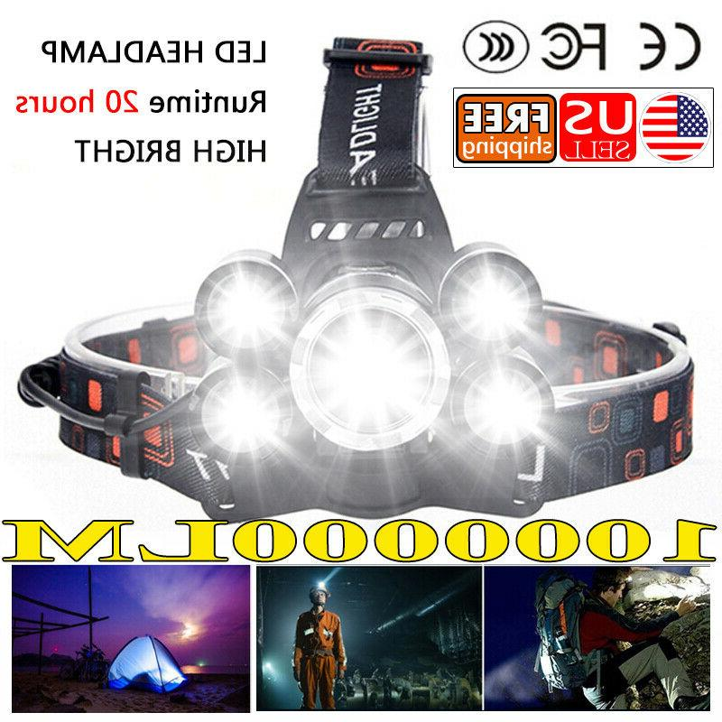 1000000lm headlamp zoomable rechargeable with zoom extra