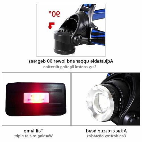 990000LM light LED Tactical Headlamp Charger+18650