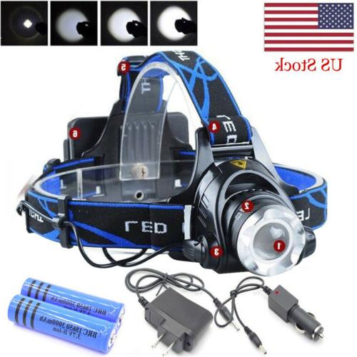 990000LM LED Tactical Headlamp Zoomable+2x Charger+18650