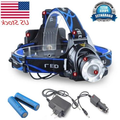 120000 LED 18650 Rechargeable Head Torch Tactical US