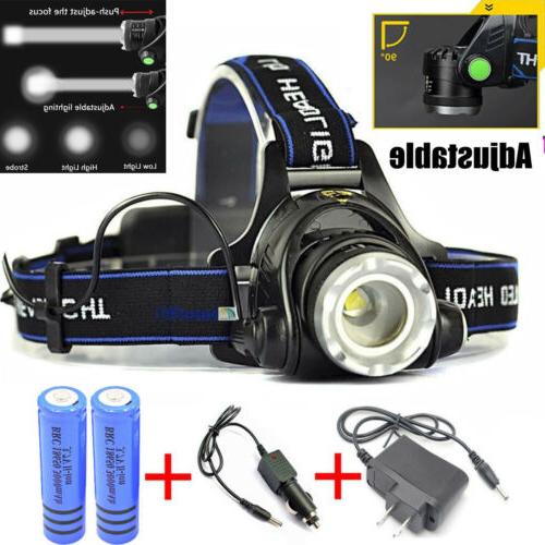 990000LM light LED Zoomable+2x Charger+18650