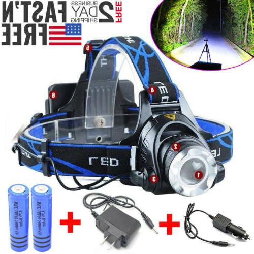 990000LM Head light LED Charger+18650