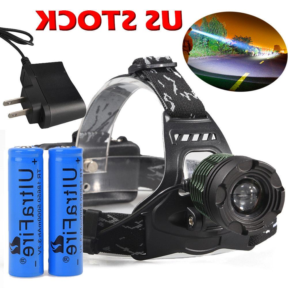 150000LM Zoomable LED Headlight Flashlight Battery US