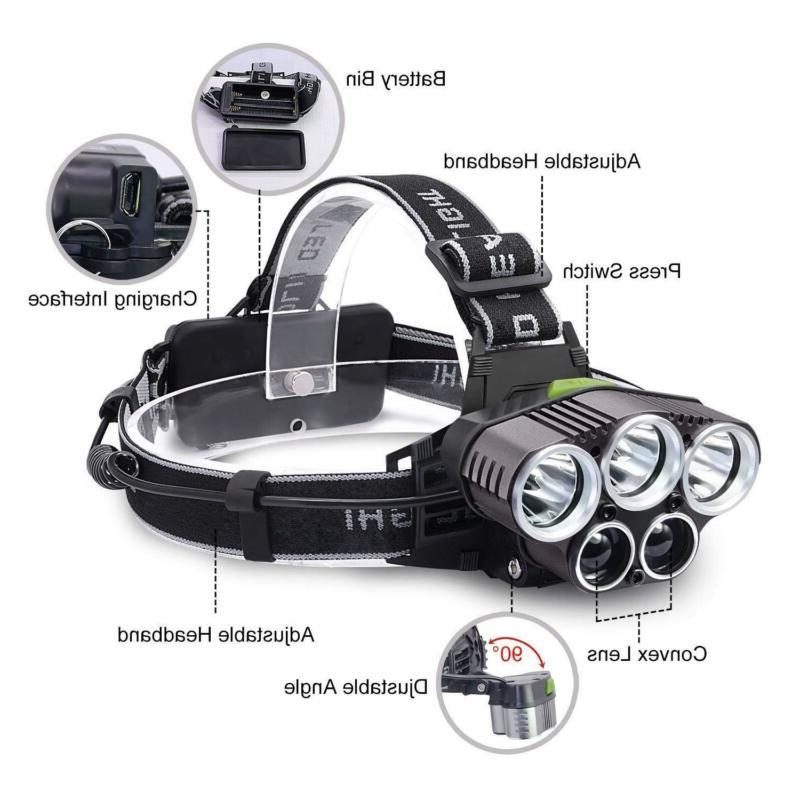 350000LM 5X LED Rechargeable Super Headlight