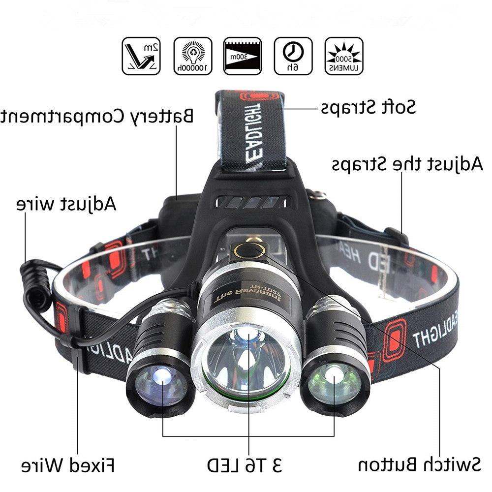 LED <font><b>Headlamp</b></font> 13000LM Mode Waterproof <font><b>Hands</b></font>-<font><b>free</b></font> Headlight Torch <font><b>Flashlight</b></font> for Camping Hunting