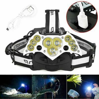 200000LM Headlamp USB Rechargeable Headlight Torch Lamp Battery