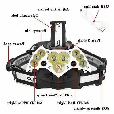 200000LM USB Rechargeable Headlight Lamp US