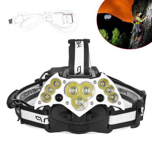 200000LM USB Rechargeable 18650 Headlight Lamp +