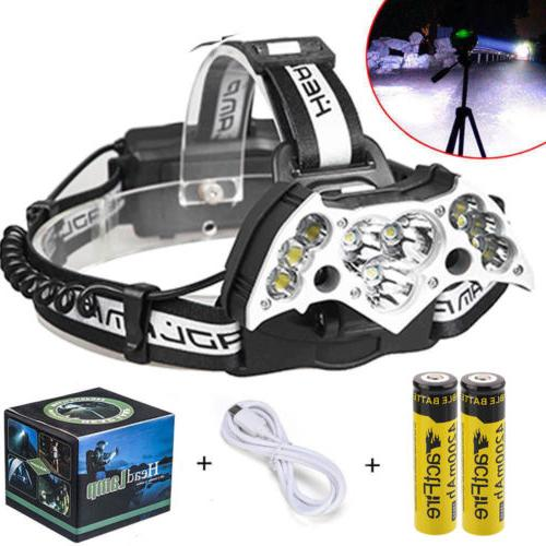 200000LM 11LED Headlamp Rechargeable 18650 Lamp +